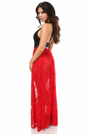 Red Sheer Lace Long Skirt