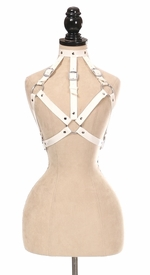 White Patent PVC Body Harness - IN STOCK