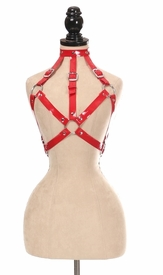 Red Patent PVC Body Harness - IN STOCK