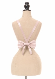 Lt Pink Metallic Vegan Leather Body Harness w/Bow - IN STOCK