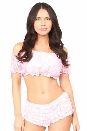 Baby Pink Lined Lace Short Sleeve Peasant Top
