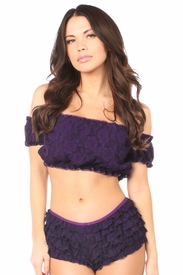Plum Lined Lace Short Sleeve Peasant Top