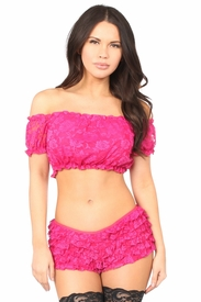 Fuchsia Lined Lace Short Sleeve Peasant Top