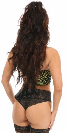 Lavish Green Zebra Lace-Up Short Bustier - IN STOCK