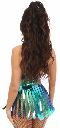 Teal/Blue Holo Fringe Skirt - IN STOCK