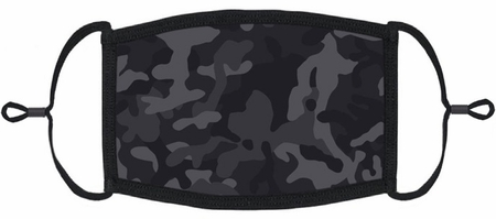 Black Camouflage Fabric Face Mask