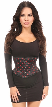 Lavish Red Hearts Satin Mini Cincher - IN STOCK