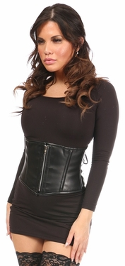 Top Drawer Black Faux Leather Steel Boned Mini Cincher - IN STOCK