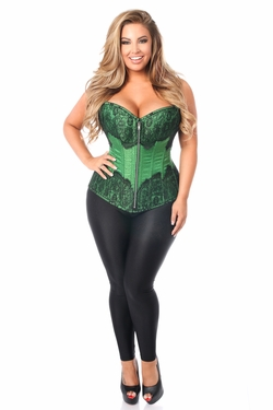 Top Drawer Emerald Brocade Steel Boned Corset w/Black Eyelash Lace - IN STOCK
