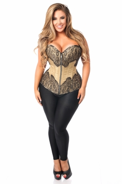 Top Drawer Tan Brocade Steel Boned Corset w/Black Eyelash Lace