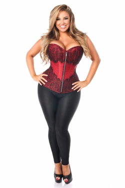 Top Drawer Wine Brocade Steel Boned Corset w/Black Eyelash Lace - IN STOCK