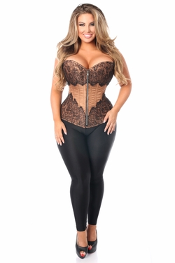Top Drawer Mocha Brocade Steel Boned Corset w/Black Eyelash Lace