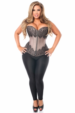 Top Drawer Gunmetal Brocade Steel Boned Corset w/Black Eyelash Lace - IN STOCK