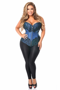 Top Drawer Blue Brocade Steel Boned Corset w/Black Eyelash Lace