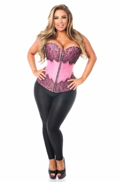 Top Drawer Pink Brocade Steel Boned Corset w/Black Eyelash Lace