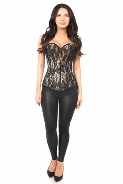 Lavish Tan Lace Front Zipper Corset - IN STOCK