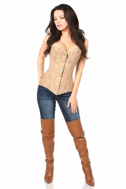 Lavish Dark Beige Lace Overbust Corset w/Zipper - IN STOCK