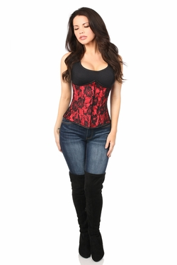 Lavish Red Underbust Corset w/Black Lace Overlay - IN STOCK