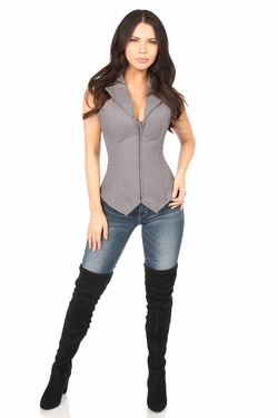 Lavish Gray Cotton Collared Corset