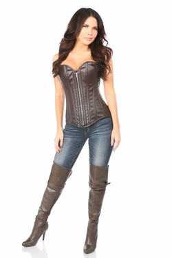 Top Drawer Distressed Dark Brown Faux Leather Steel Boned Corset - IN STOCK