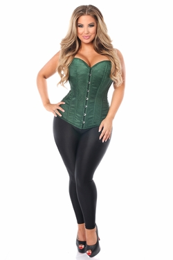 Lavish Dark Green Brocade Corset - IN STOCK