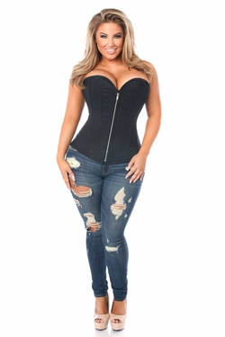 Top Drawer Plus Size Black Cotton Steel Boned Corset w/Zipper - IN STOCK