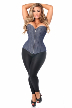 Top Drawer Denim Blue Steel Boned Overbust Corset w/Zipper - IN STOCK