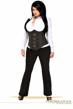Plus Size Top Drawer Steel Boned Pinstripe Corset Top W/Buckling - IN STOCK