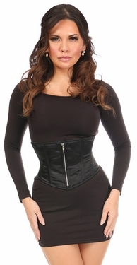 Top Drawer Black Satin Steel Boned Mini Cincher - IN STOCK