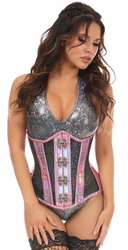 Top Drawer Pink Holo & Black Fishnet Steel Boned Under Bust Corset - IN STOCK