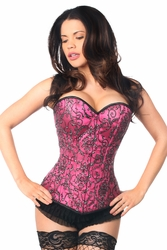 Top Drawer Elegant Fuchsia Embroidered Steel Boned Corset - IN STOCK