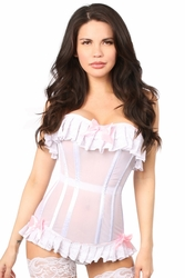 Lavish Sheer Mesh & Lace Overbust Corset - IN STOCK