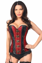 Top Drawer Two-Tone Wine Brocade & Faux Leather Steel Boned Corset - ON SALE