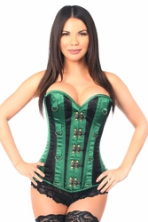 Top Drawer Green/Black Steel Boned Corset w/Clasps & D-Rings - IN STOCK