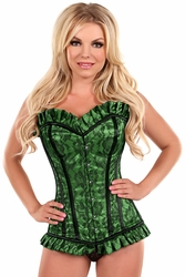 Top Drawer Green Lace Steel Boned Corset - IN STOCK