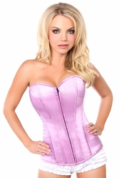 Lavish Lavender Sweetheart Front Zipper Corset - IN STOCK