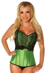 Top Drawer Green Lace & Bow Halter Steel Boned Corset - IN STOCK