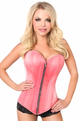Top Drawer Coral Satin Steel Boned Corset - IN STOCK