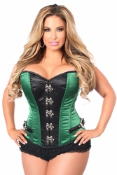 Top Drawer Plus Size Green Buckle Steel Boned Corset - IN STOCK