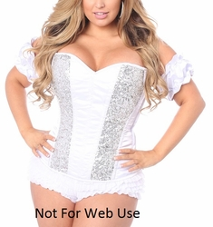 Top Drawer White Steel Boned Molded Cup Sequin Corset - IN STOCK