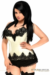 Top Drawer Ivory Satin Steel Boned Beaded Corset - IN STOCK