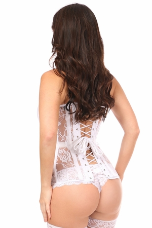 Lavish White Sheer Lace Over Bust Corset - IN STOCK