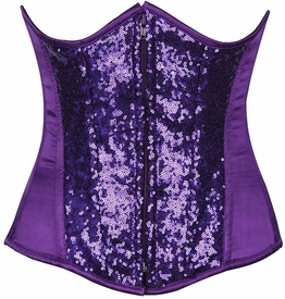 Top Drawer Purple Sequin Steel Boned Under Bust Corset