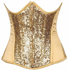 Top Drawer Gold Sequin Steel Boned Under Bust Corset