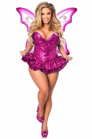 Top Drawer Premium Sequin Pink Fairy Corset Dress Costume