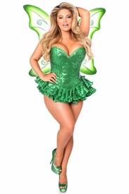 Top Drawer Premium Sequin Green Fairy Corset Dress Costume