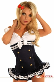 Top Drawer Navy Blue Pin-Up Underbust Corset