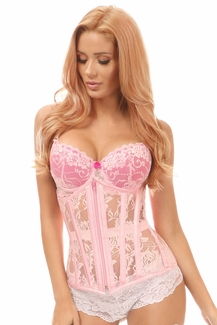 Lavish Lt Pink Sheer Lace Under Bust Corset - IN STOCK