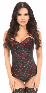 Lavish Red Hearts Satin Overbust Corset - IN STOCK