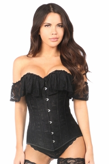 Lavish Black Lace Off-The-Shoulder Corset - IN STOCK